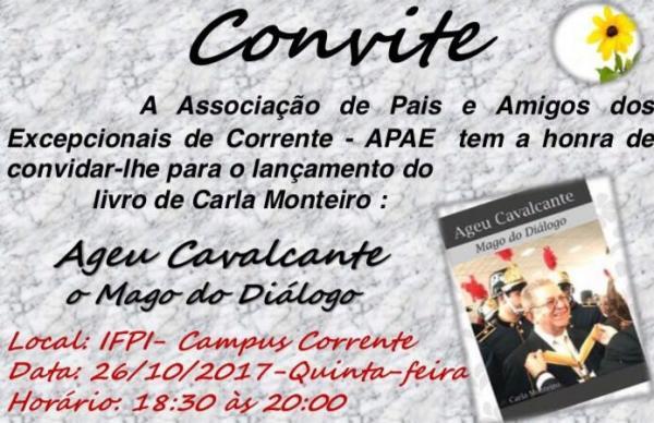 APAE convida população para lançamento de livro sobre a biografia de Ageu Cavalcante