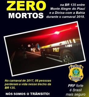 PRF divulga balanço da operação 'carnaval 2018' na BR- 135 no Extremo Sul do Piauí