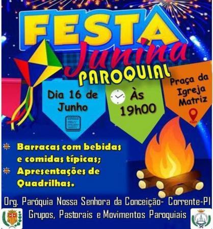 Paróquia Nossa Senhora da Conceição promove festa junina dia 16 de junho