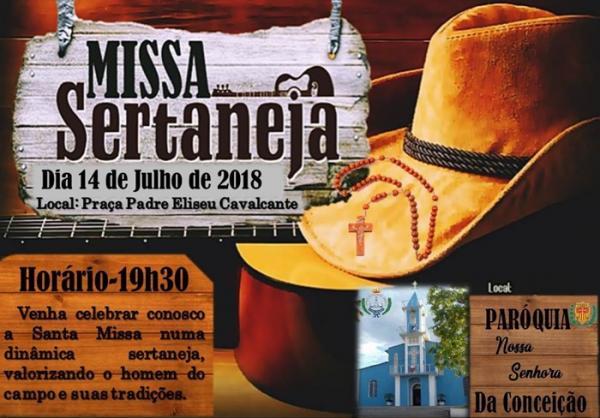 Paróquia Nossa Senhora da Conceição convida fiéis para Missa Sertaneja dia 14 de Julho