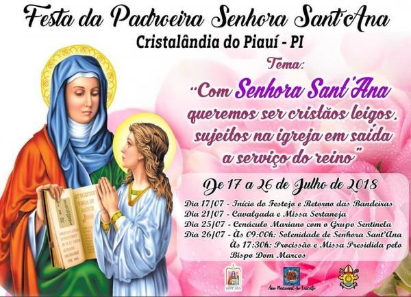 Fiéis de Cristalândia do Piauí celebram festejos à Senhora Sant'Ana de 17 a 26 de julho; confira programação