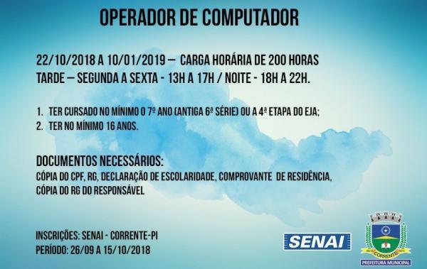 SENAI abre inscrição para o curso operador de computador em Corrente