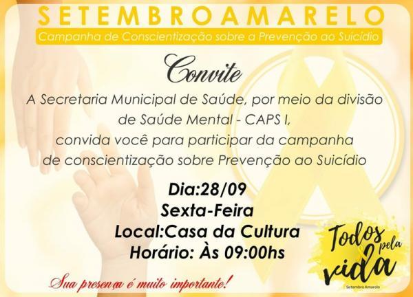 Saúde convida população para participar da Campanha 'Setembro Amarelo'