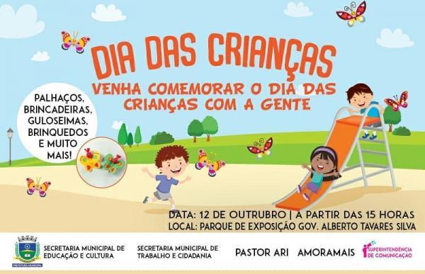 Município promove pelo segundo ano festa para as crianças, nesta sexta (12)