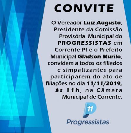 Progressistas realizará solenidade de filiação partidária em Corrente
