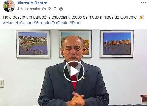 Político ausente, senador Marcelo Castro erra idade de aniversário de Corrente