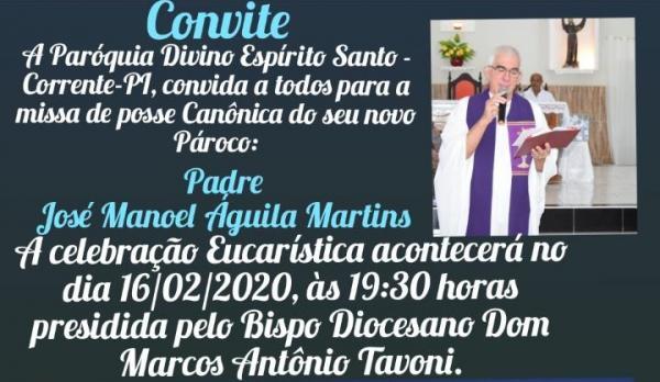 Paróquia Divino Espírito Santo convida comunidade para posse canônica do novo pároco