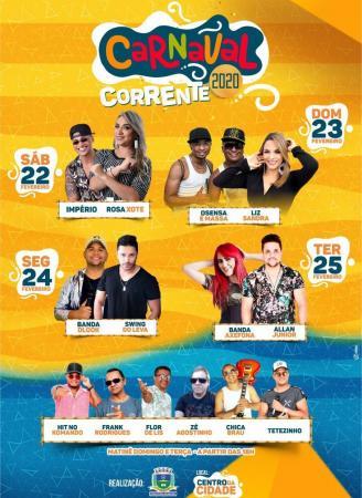 Prefeitura de Corrente divulga atrações do carnaval 2020