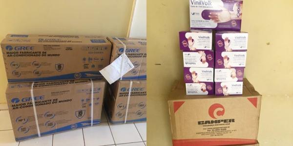 Hospital recebe doação de ar condicionado e EPIS para enfretamento ao coronaVirus