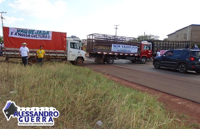 Vaqueiros de todo o Extremo Sul do Piauí protestam em Corrente a favor da vaquejada