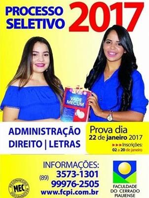 Faculdade do Cerrado Piauiense oferece 150 vagas no vestibular 2017