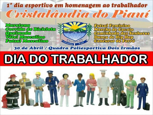 Prefeitura de Cristalândia realizará programação esportiva em alusão ao Dia do Trabalhador